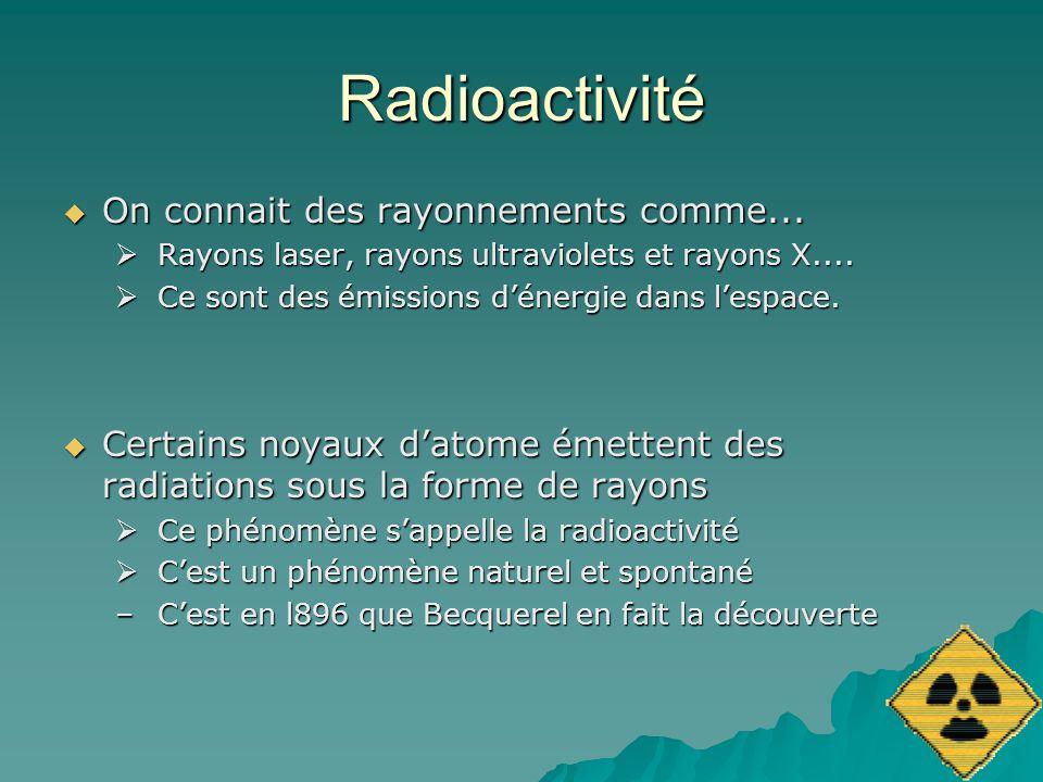 Radioactivité On connait des rayonnements comme... On connait des rayonnements comme... Rayons laser, rayons ultraviolets et rayons X.... Rayons laser