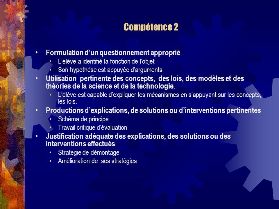 Compétence 2 Formulation dun questionnement approprié Lélève a identifié la fonction de lobjet Son hypothèse est appuyée darguments Utilisation pertinente des concepts, des lois, des modèles et des théories de la science et de la technologie.