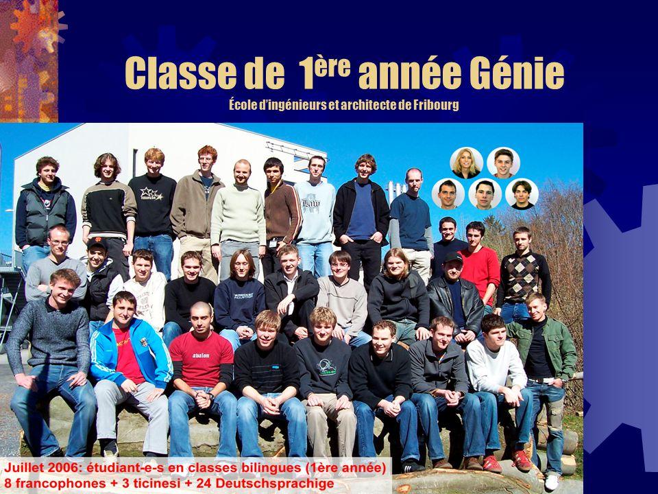 Classe de 1 ère année Génie École dingénieurs et architecte de Fribourg