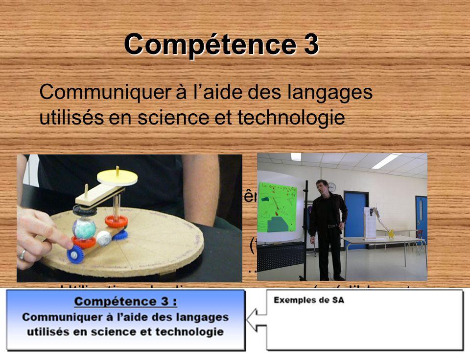 Compétence 3 Communiquer à laide des langages utilisés en science et technologie Comment ? –On peut lévaluer en même temps que les autres compétences