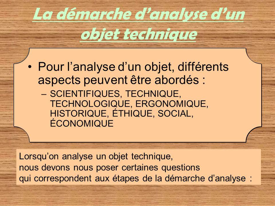La démarche danalyse dun objet technique Pour lanalyse dun objet, différents aspects peuvent être abordés : –SCIENTIFIQUES, TECHNIQUE, TECHNOLOGIQUE,