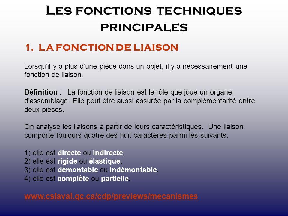 Les fonctions techniques principales 1. LA FONCTION DE LIAISON Lorsquil y a plus dune pièce dans un objet, il y a nécessairement une fonction de liais