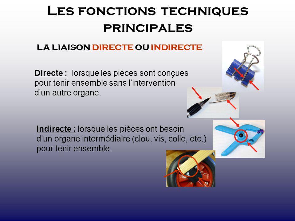 Les fonctions techniques principales LA LIAISON DIRECTE OU INDIRECTE Directe : lorsque les pièces sont conçues pour tenir ensemble sans lintervention
