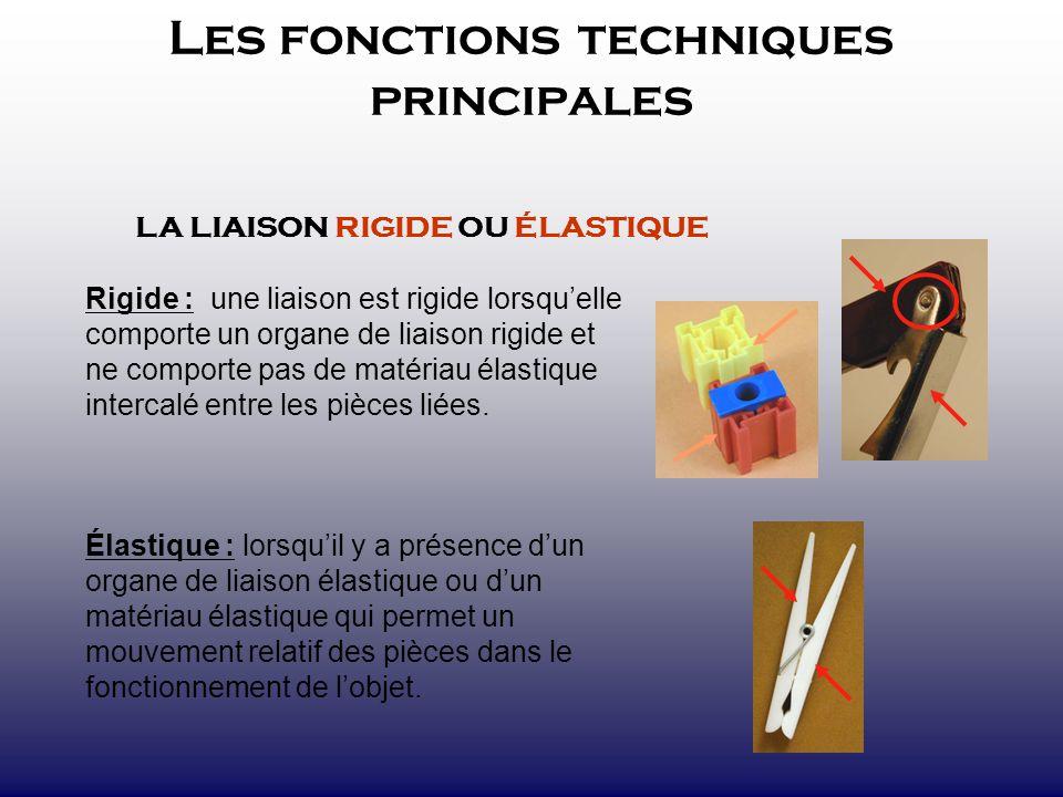 Les fonctions techniques principales LA LIAISON RIGIDE OU ÉLASTIQUE Rigide : une liaison est rigide lorsquelle comporte un organe de liaison rigide et