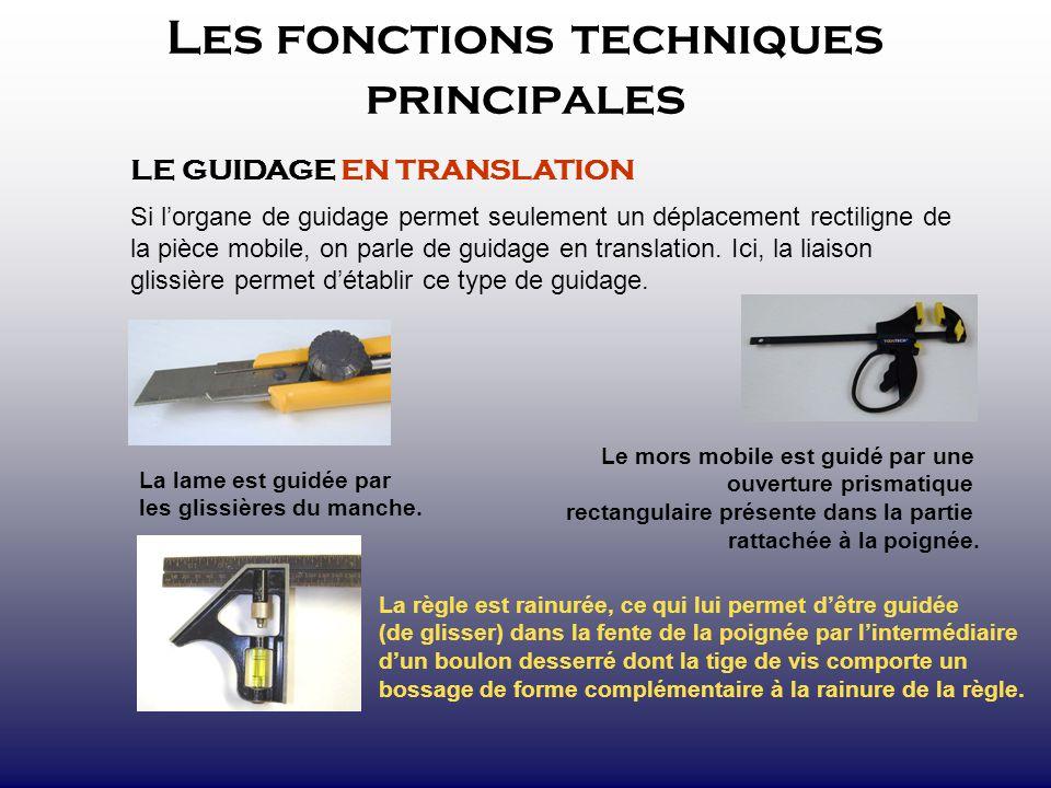 Les fonctions techniques principales LE GUIDAGE EN TRANSLATION Si lorgane de guidage permet seulement un déplacement rectiligne de la pièce mobile, on