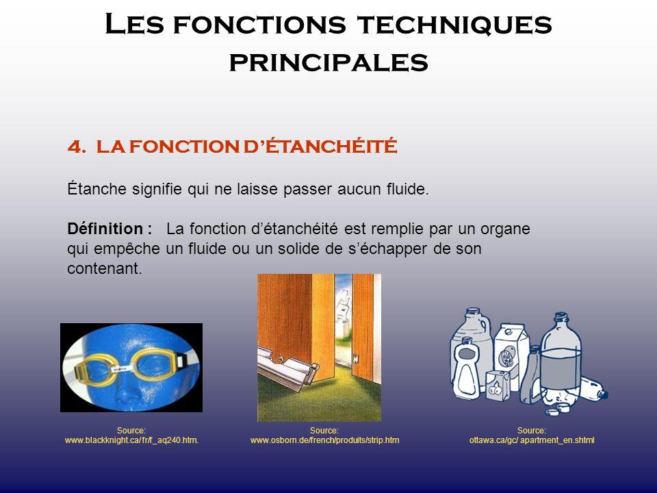 Les fonctions techniques principales 4. LA FONCTION DÉTANCHÉITÉ Étanche signifie qui ne laisse passer aucun fluide. Définition : La fonction détanchéi