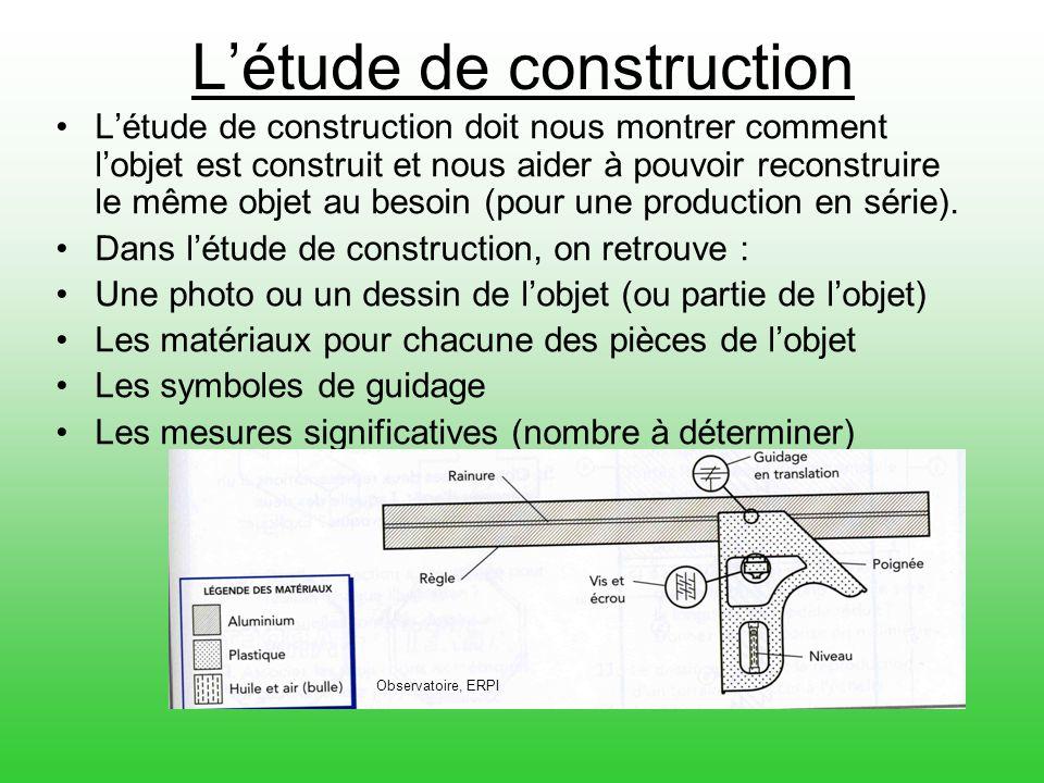 Létude de construction Létude de construction doit nous montrer comment lobjet est construit et nous aider à pouvoir reconstruire le même objet au bes