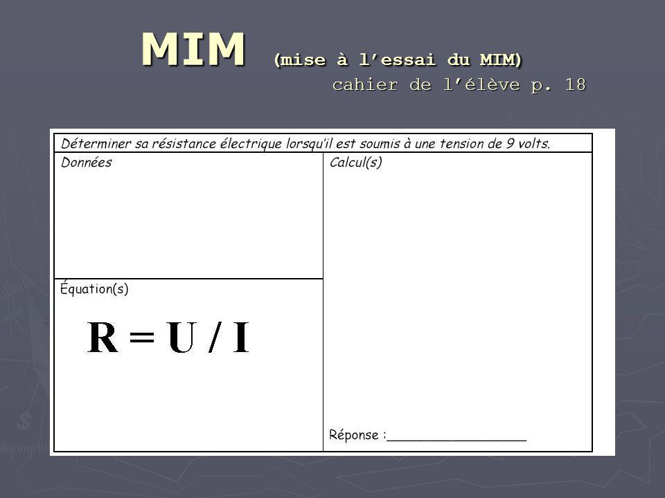 MIM (mise à lessai du MIM) cahier de lélève p. 18