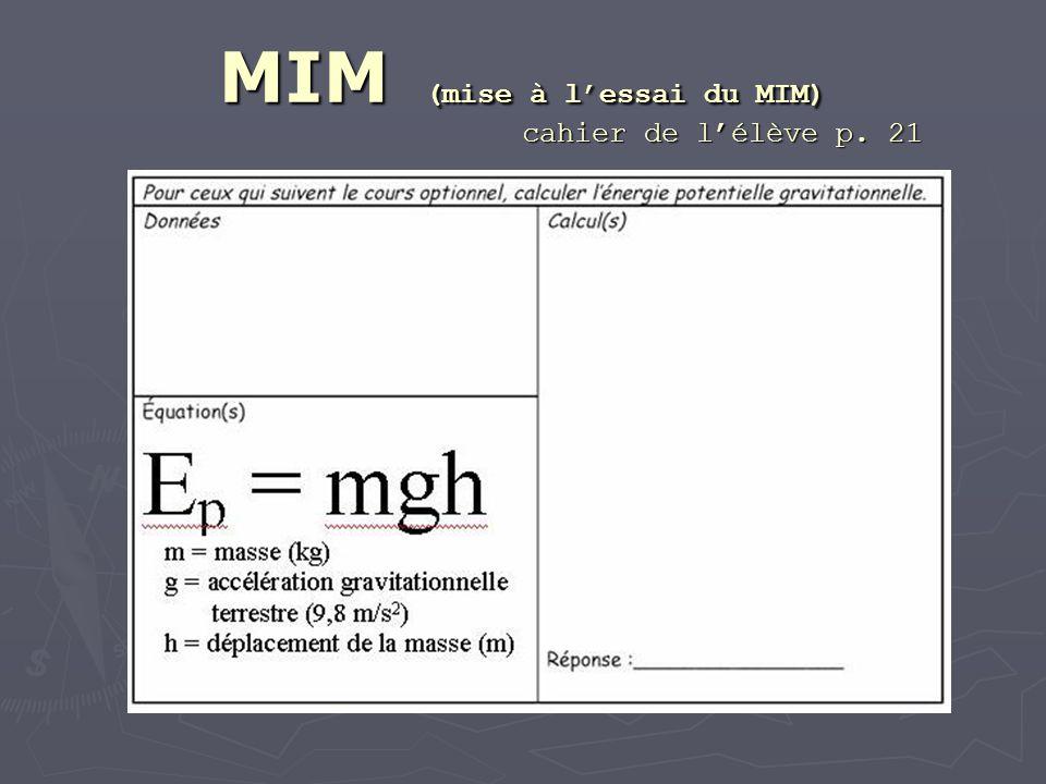 MIM (mise à lessai du MIM) cahier de lélève p. 21