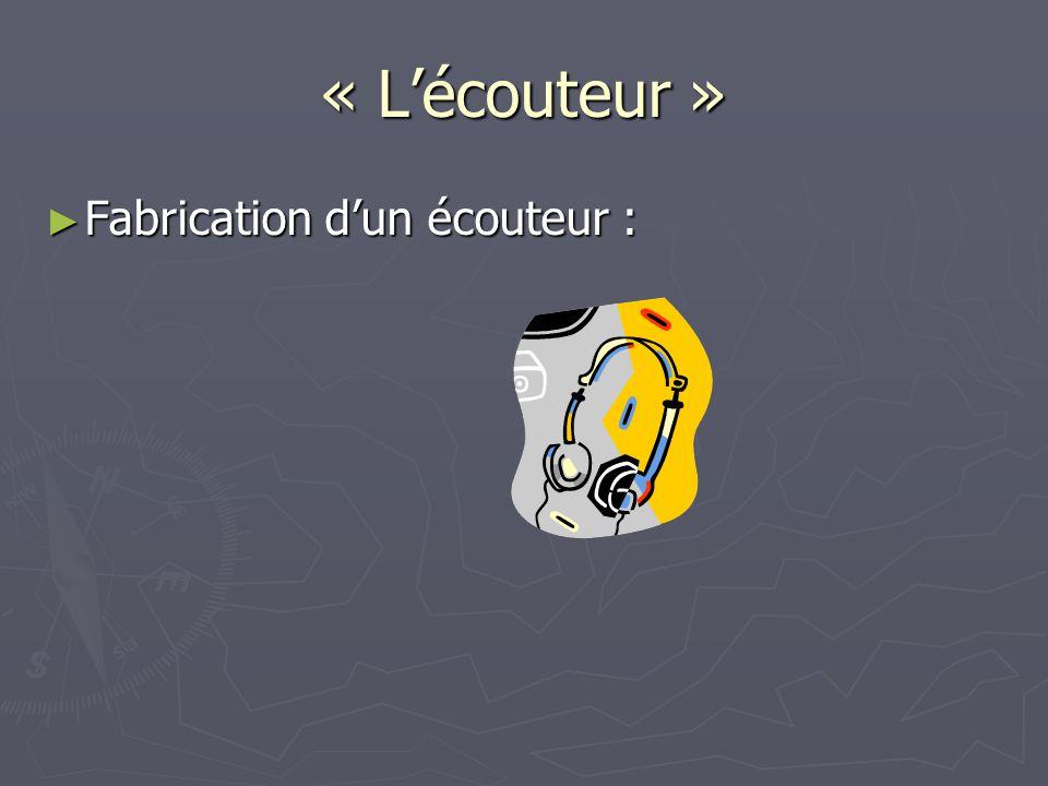 « Lécouteur » Fabrication dun écouteur : Fabrication dun écouteur :