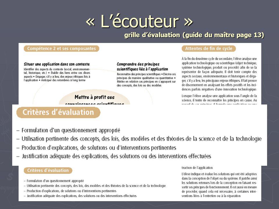 « Lécouteur » grille dévaluation (guide du maître page 13)