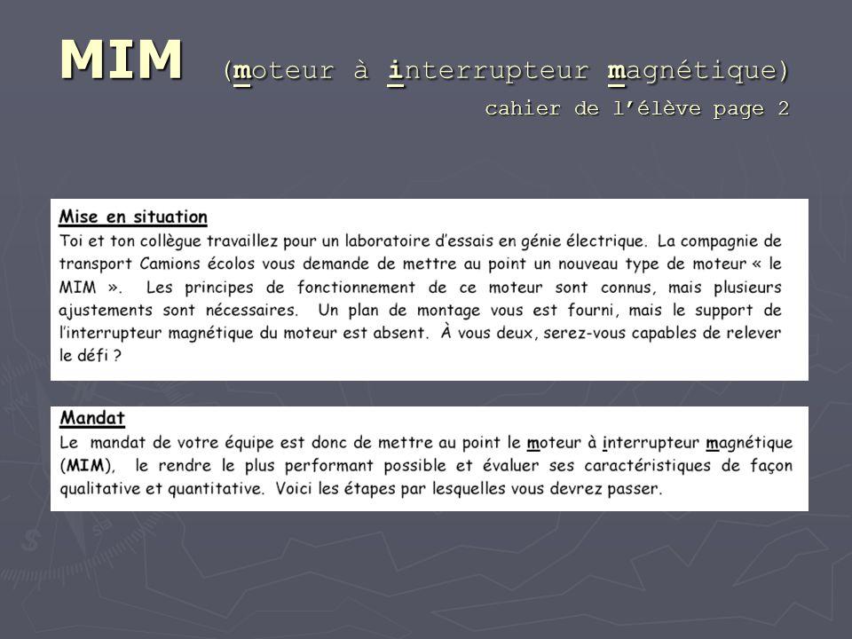 MIM (moteur à interrupteur magnétique) cahier de lélève page 2