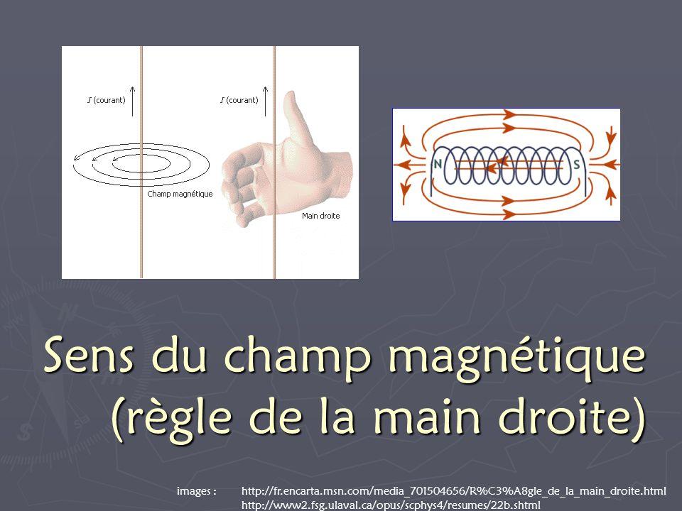 Sens du champ magnétique (règle de la main droite) images : http://fr.encarta.msn.com/media_701504656/R%C3%A8gle_de_la_main_droite.html http://www2.fsg.ulaval.ca/opus/scphys4/resumes/22b.shtml