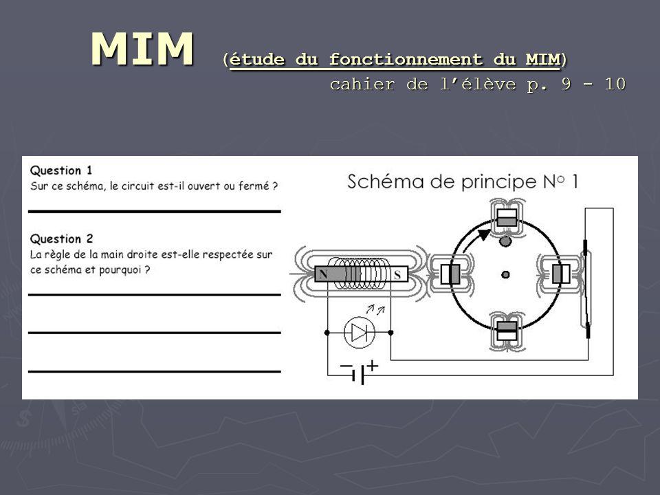 MIM (étude du fonctionnement du MIM) cahier de lélève p. 9 - 10