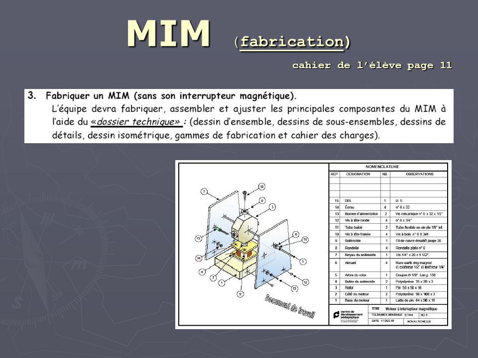 MIM (fabrication) cahier de lélève page 11