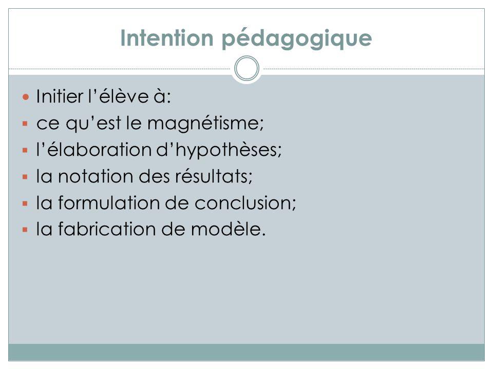 Intention pédagogique Initier lélève à: ce quest le magnétisme; lélaboration dhypothèses; la notation des résultats; la formulation de conclusion; la fabrication de modèle.