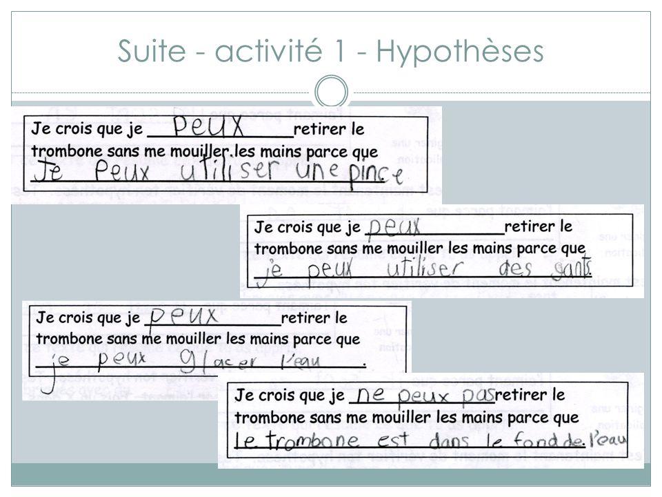 Suite - activité 1 - Hypothèses