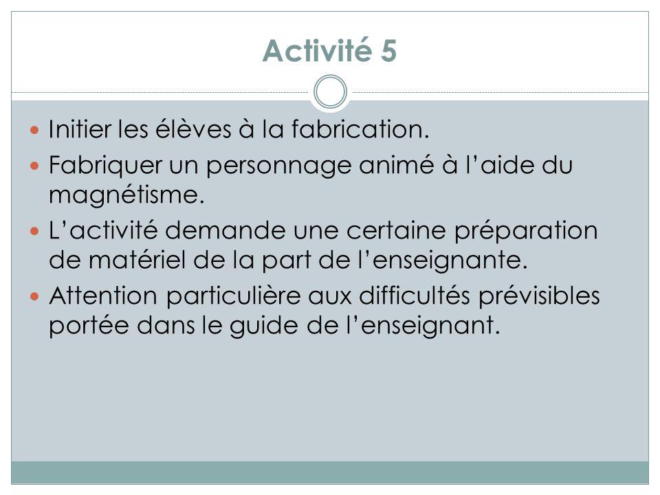 Activité 6 Découvrir que les aimants ont des puissances dattraction différentes.
