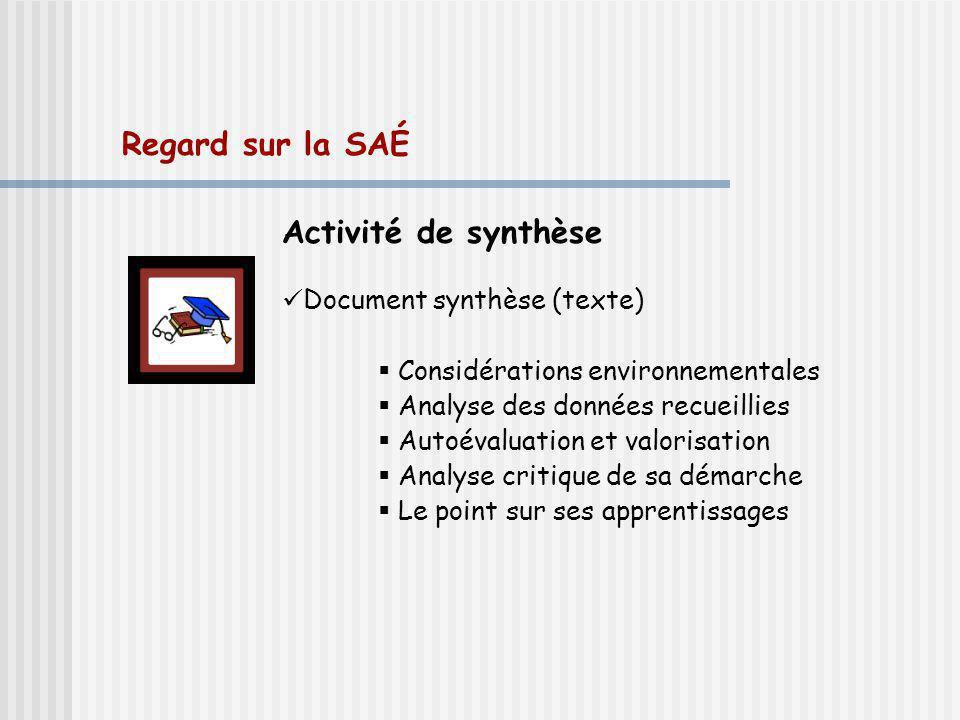 Regard sur la SAÉ Activité de synthèse Document synthèse (texte) Considérations environnementales Analyse des données recueillies Autoévaluation et va
