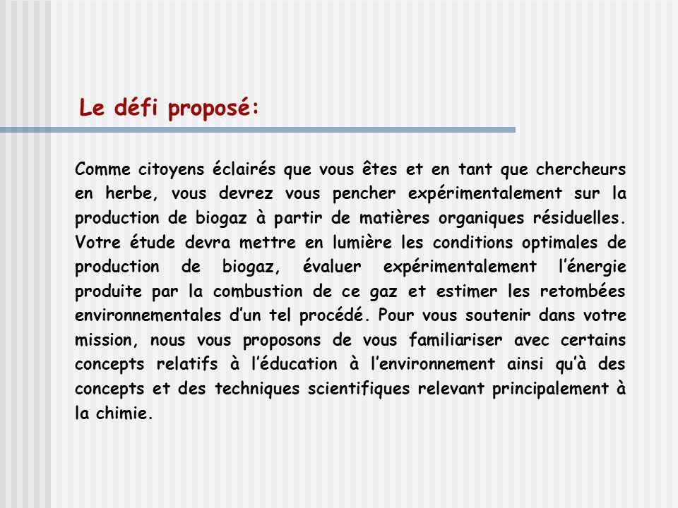 Le défi proposé: Comme citoyens éclairés que vous êtes et en tant que chercheurs en herbe, vous devrez vous pencher expérimentalement sur la production de biogaz à partir de matières organiques résiduelles.