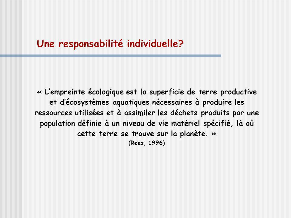 Une responsabilité individuelle? « Lempreinte écologique est la superficie de terre productive et décosystèmes aquatiques nécessaires à produire les r