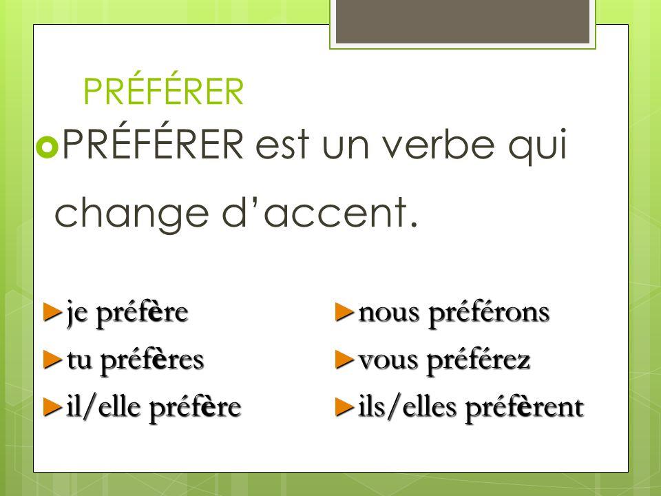 PRÉFÉRER PRÉFÉRER est un verbe qui change daccent. je préfère je préfère tu préfères tu préfères il/elle préfère il/elle préfère nous préférons nous p