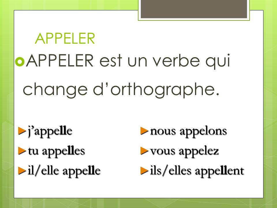APPELER APPELER est un verbe qui change dorthographe. jappelle jappelle tu appelles tu appelles il/elle appelle il/elle appelle nous appelons nous app