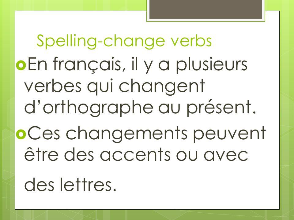 En français, il y a plusieurs verbes qui changent dorthographe au présent. Ces changements peuvent être des accents ou avec des lettres. Spelling-chan
