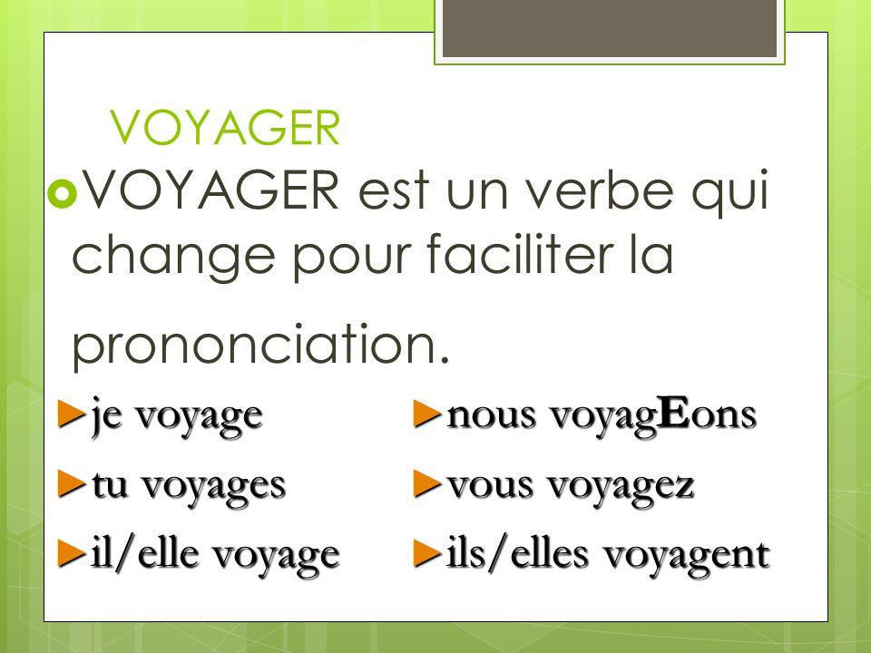 VOYAGER VOYAGER est un verbe qui change pour faciliter la prononciation. je voyage je voyage tu voyages tu voyages il/elle voyage il/elle voyage nous