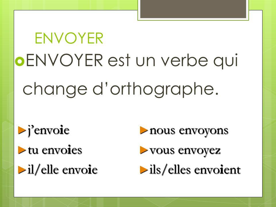 ENVOYER ENVOYER est un verbe qui change dorthographe. jenvoie jenvoie tu envoies tu envoies il/elle envoie il/elle envoie nous envoyons nous envoyons