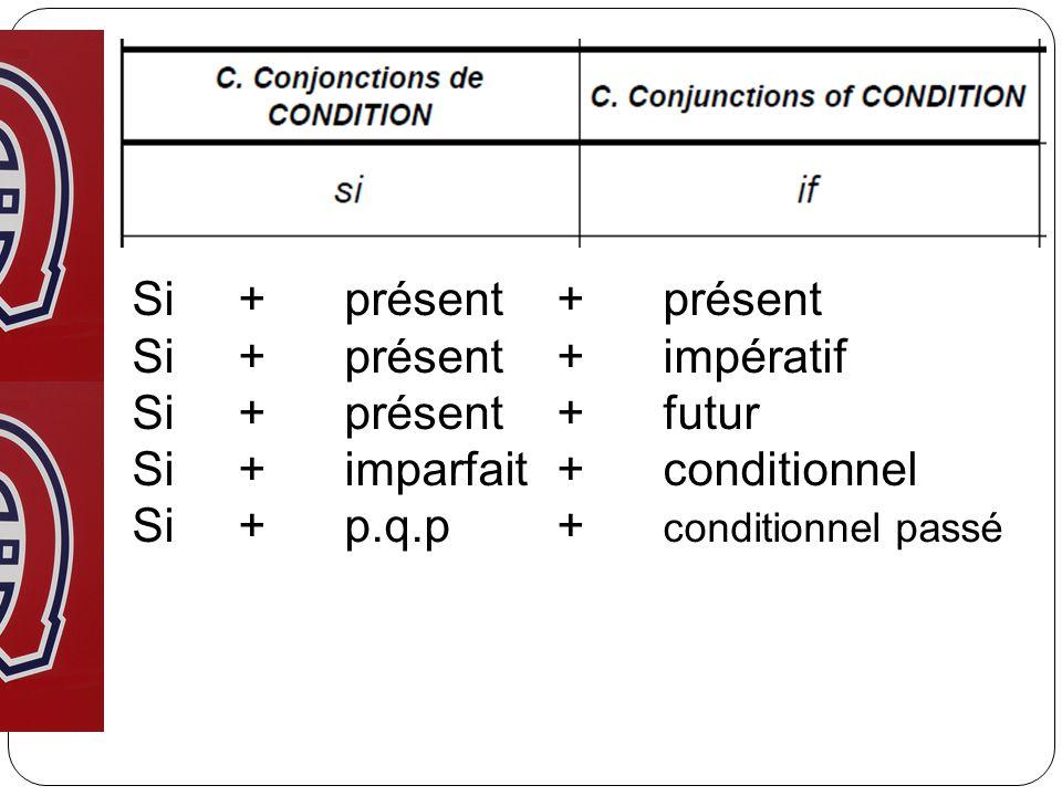 Si+ présent+présent Si+ présent+impératif Si+présent+futur Si+imparfait+conditionnel Si+ p.q.p+ conditionnel passé