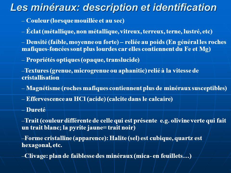 Les minéraux: description et identification – Couleur (lorsque mouillée et au sec) – Éclat (métallique, non métallique, vitreux, terreux, terne, lustr