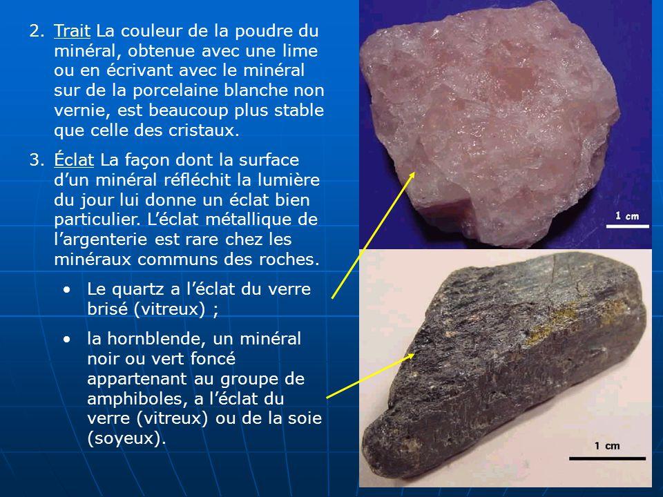 2.Trait La couleur de la poudre du minéral, obtenue avec une lime ou en écrivant avec le minéral sur de la porcelaine blanche non vernie, est beaucoup