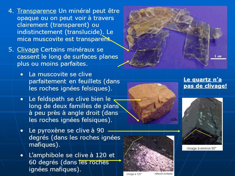 4.Transparence Un minéral peut être opaque ou on peut voir à travers clairement (transparent) ou indistinctement (translucide). Le mica muscovite est