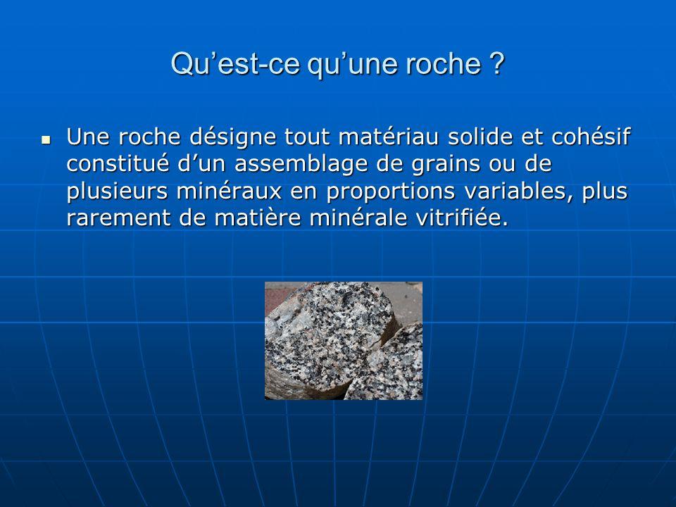 Quest-ce quune roche ? Une roche désigne tout matériau solide et cohésif constitué dun assemblage de grains ou de plusieurs minéraux en proportions va