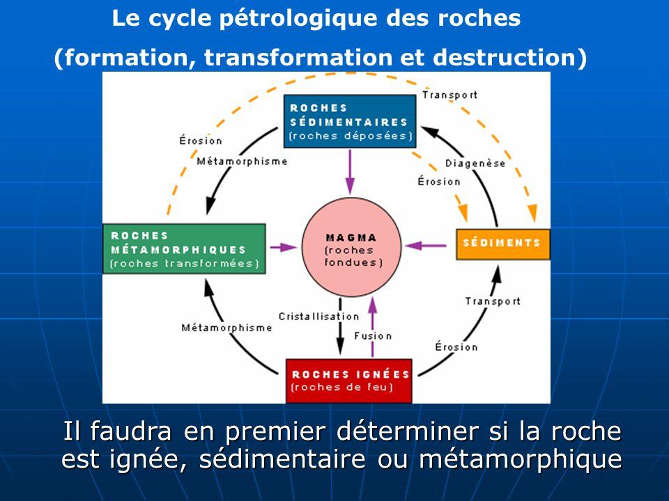 Le cycle pétrologique des roches (formation, transformation et destruction) Il faudra en premier déterminer si la roche est ignée, sédimentaire ou mét