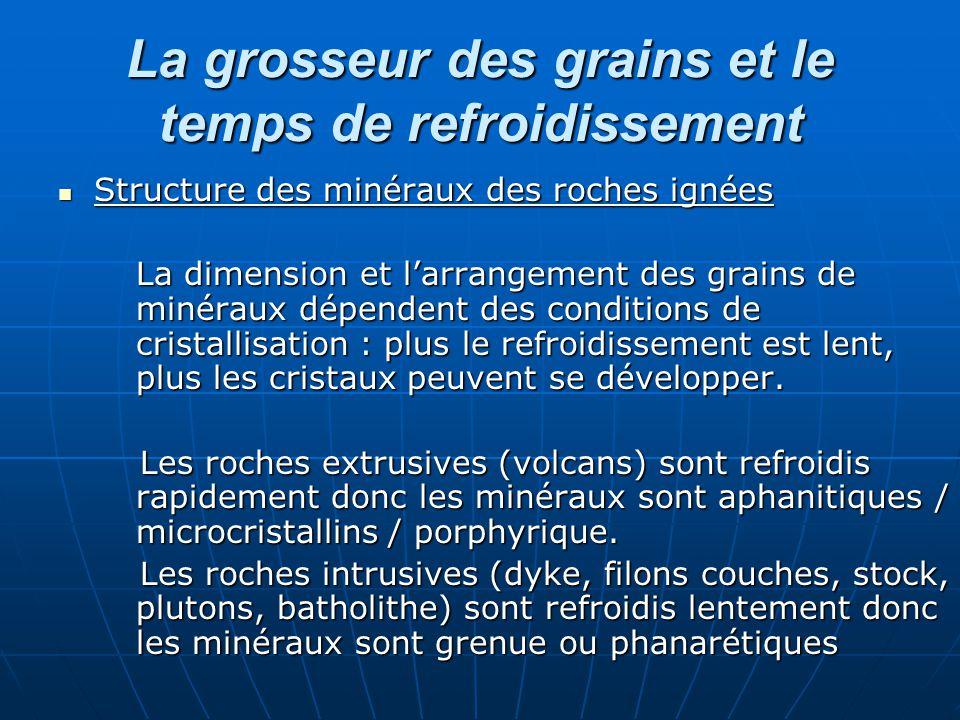 La grosseur des grains et le temps de refroidissement Structure des minéraux des roches ignées Structure des minéraux des roches ignées La dimension e
