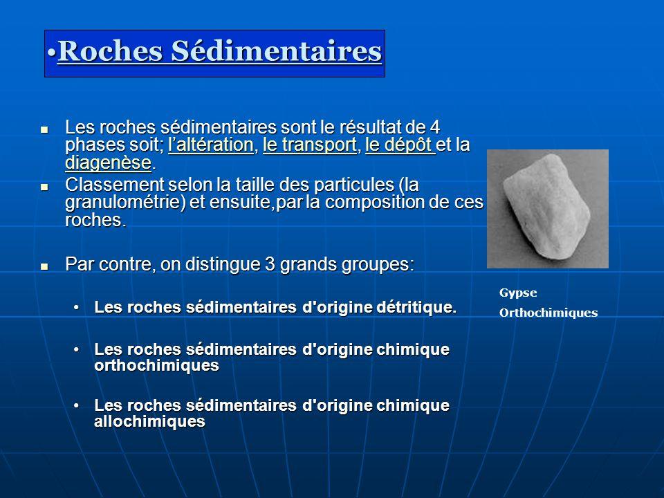 Les roches sédimentaires sont le résultat de 4 phases soit; laltération, le transport, le dépôt et la diagenèse. Les roches sédimentaires sont le résu