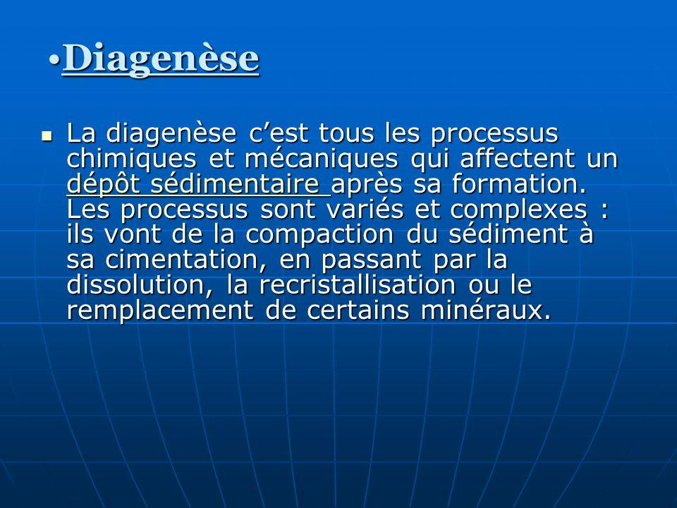 La diagenèse cest tous les processus chimiques et mécaniques qui affectent un dépôt sédimentaire après sa formation. Les processus sont variés et comp