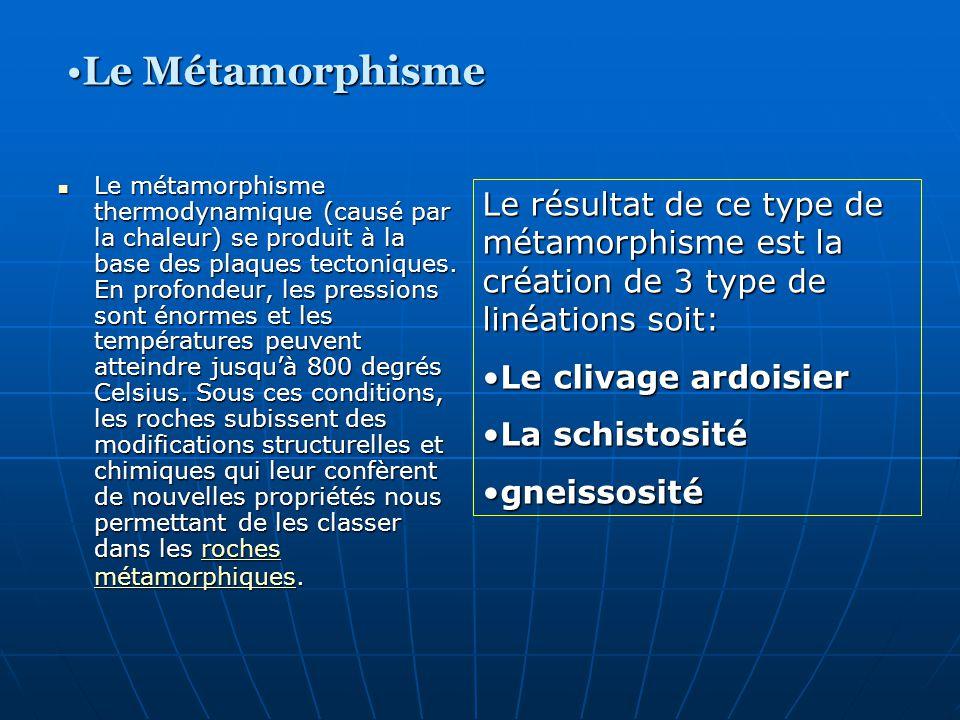 Le métamorphisme thermodynamique (causé par la chaleur) se produit à la base des plaques tectoniques. En profondeur, les pressions sont énormes et les