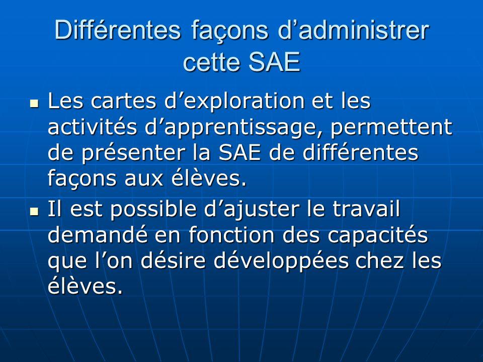 Différentes façons dadministrer cette SAE Les cartes dexploration et les activités dapprentissage, permettent de présenter la SAE de différentes façon