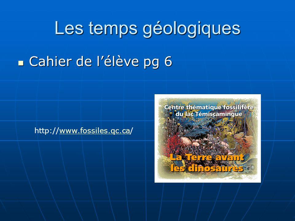 Les temps géologiques Cahier de lélève pg 6 Cahier de lélève pg 6 http://www.fossiles.qc.ca/