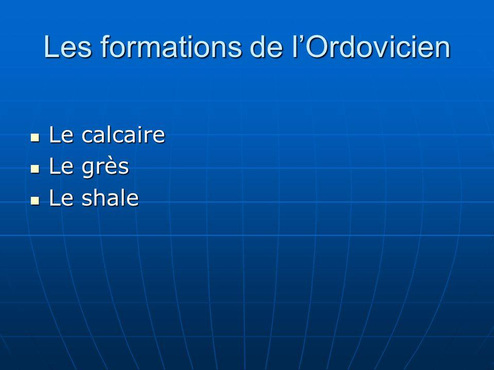 Les formations de lOrdovicien Le calcaire Le calcaire Le grès Le grès Le shale Le shale
