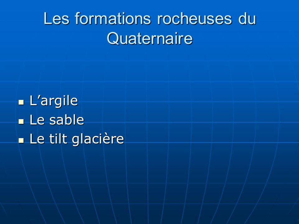 Les formations rocheuses du Quaternaire Largile Largile Le sable Le sable Le tilt glacière Le tilt glacière