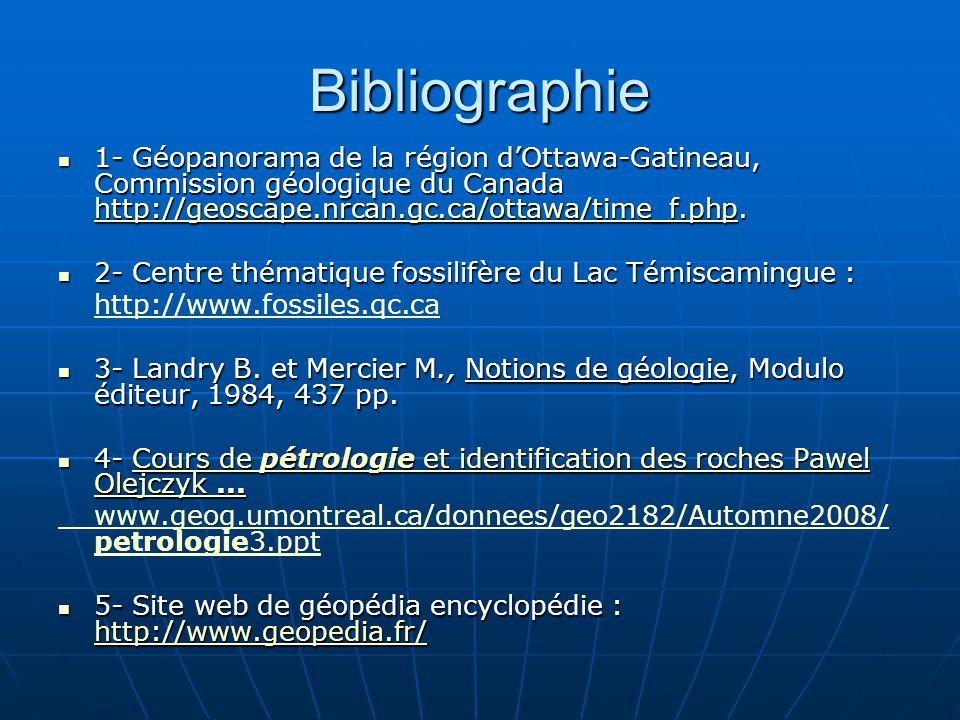 Bibliographie 1- Géopanorama de la région dOttawa-Gatineau, Commission géologique du Canada http://geoscape.nrcan.gc.ca/ottawa/time_f.php. 1- Géopanor