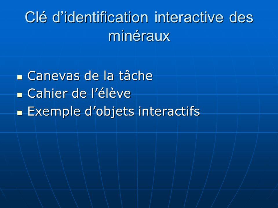 Clé didentification interactive des minéraux Canevas de la tâche Canevas de la tâche Cahier de lélève Cahier de lélève Exemple dobjets interactifs Exe