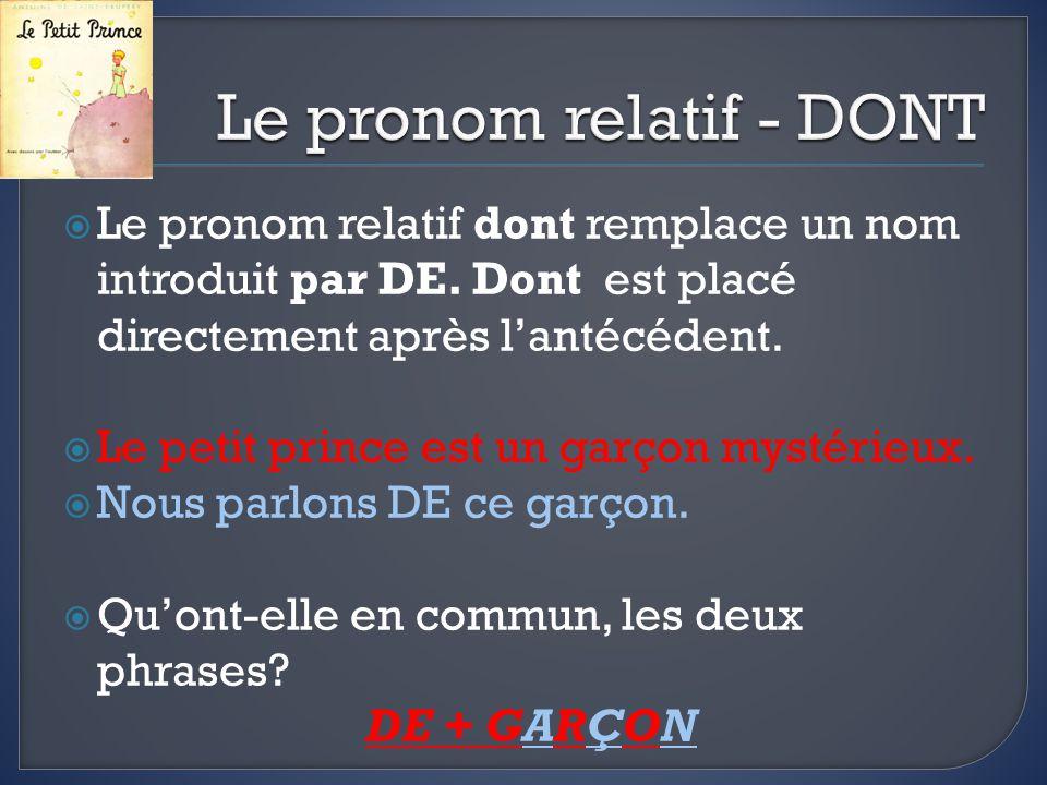 Le pronom relatif dont remplace un nom introduit par DE.