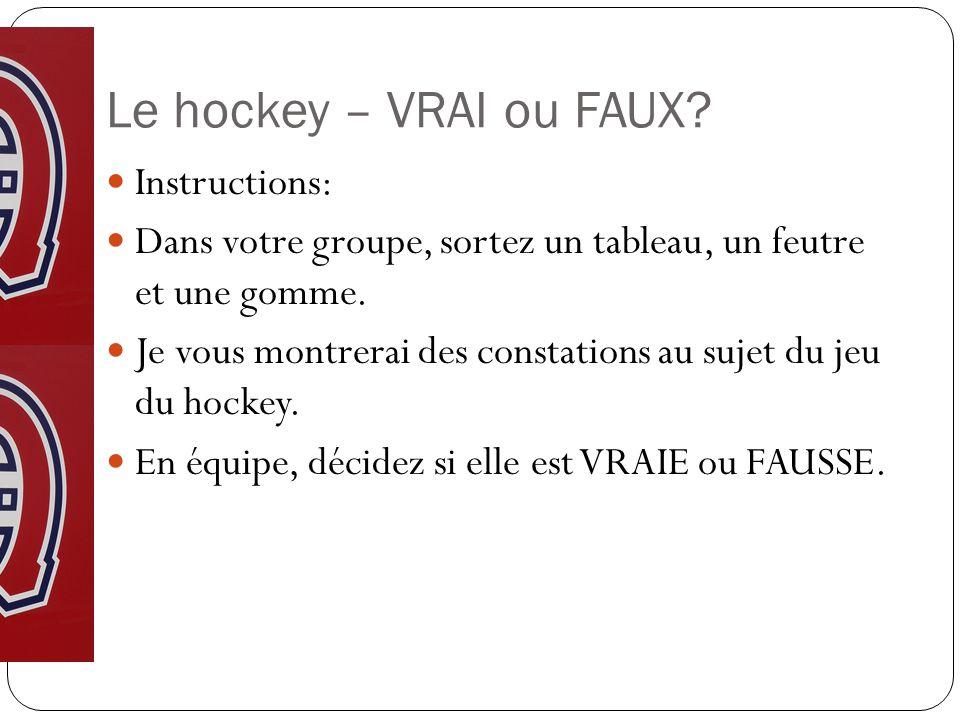 Le hockey – VRAI ou FAUX.