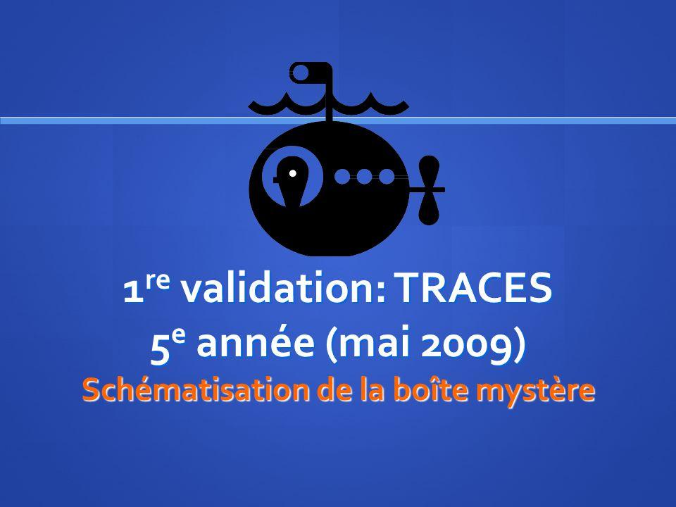 1 re validation: TRACES 5 e année (mai 2009) Schématisation de la boîte mystère
