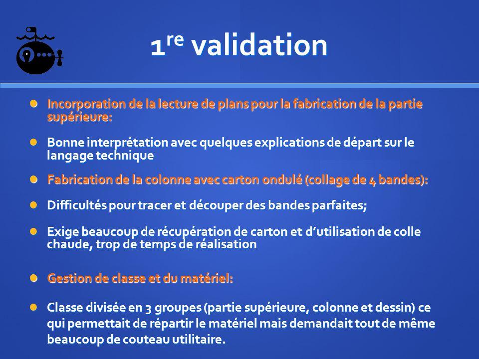 1 re validation Incorporation de la lecture de plans pour la fabrication de la partie supérieure: Incorporation de la lecture de plans pour la fabrica